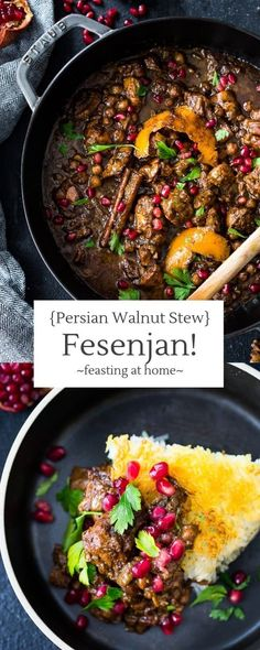 Fesenjan {Persian Walnut Pomegranate Stew} A delicious recipe for Fesenjan, a Persian Walnut Pomegranate Stew with chicken and chickpeas. Earthy, rich and tangy, this is bursting with Middle Eastern Flavor! Middle East Food, Middle Eastern Recipes, Middle Eastern Vegetarian Recipes, Middle Eastern Soup Recipe, Middle Eastern Chicken, Iranian Cuisine, Iranian Food, Persian Chicken, Gastronomia