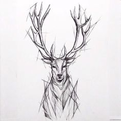 Like the sketch but without the angular extra lines around perimeter - My list of beautiful animals Sketch Style Tattoos, Tattoo Sketches, Tattoo Drawings, Body Art Tattoos, Hand Tattoos, Sleeve Tattoos, Stag Tattoo Design, Deer Tattoo, Tattoo Designs