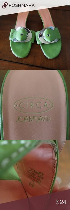 JOAN & DAVID Sandals w/Buckle and Kitten Heel CIRCA JOAN & DAVID Leather Sandals with Leather Sole, Buckle and Kitten Heels.  Size 8.5M  Top leather and buckle is in beautiful condition.   Leather Sole and heel show some wear.  Perfect addition to your summer wardrobe! Joan & David Shoes Sandals