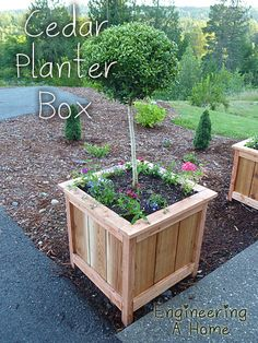 """""""Pretty Front Porch: DIY Large Cedar Planter Boxes – Engineering A Home"""", """"DIY planter box is a simple but effective medium to display your favorite p Square Planter Boxes, Planter Box Plans, Cedar Planter Box, Garden Planter Boxes, Raised Planter Boxes, Building Planter Boxes, Outdoor Planter Boxes, Pallet Planter Box, Cedar Box"""