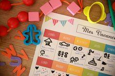 Emploi du temps, vacances, idées, occuper les enfants, planning, imprimable, a imprimer