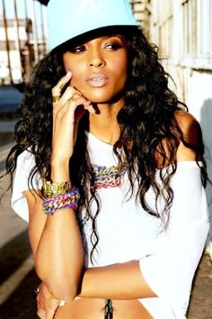 Ciara in snap back cap & those bracelets!!  Found similar on sale @ Claire's for $2.50 !