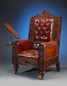 Steampunk Chair with Book Stand - leather / carved wood Neo Victorian, Victorian Decor, Victorian Homes, Antique Chairs, Antique Furniture, Cool Furniture, Victorian Furniture, Affordable Furniture, Victorian Gentleman