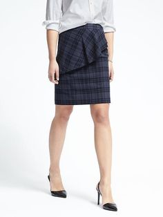 Plaid Asymmetrical Peplum Skirt