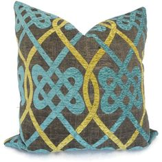Brown and Aqua Celtic Knot Decorative Pillow Cover 18x18, 20x20, or 22x22 or lumbar pillow, Accent pillow via Etsy