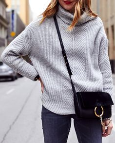 Fall Outfit, Winter Outfit, Chunky Grey Turtleneck Sweater, Grey Skinny Jeans, Chloe Faye Black Handbag, Red Lipstick