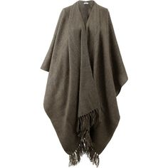 Brunello Cucinelli Alpaca Metallic Fringe Poncho ($1,795) ❤ liked on Polyvore featuring outerwear, alpaca poncho, brunello cucinelli, military poncho, alpaca wool poncho and brown poncho