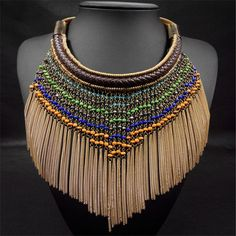New Fashion Mix Colour Bohemian Style Fine Jewelry Ethnic Necklace Tassel Collar Big Long Gold Beads Choker Necklace for women - http://jewelryfromchina.com/?product=new-fashion-mix-colour-bohemian-style-fine-jewelry-ethnic-necklace-tassel-collar-big-long-gold-beads-choker-necklace-for-women