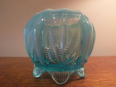 Rare Fenton Six Footed Blue Opalescent Footed by MaysFineAntiques