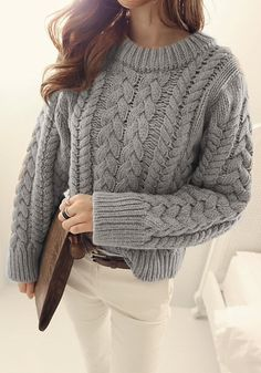 Grey Chunky Sweater - Chunky Cable Knit Pullover