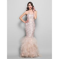 Trumpet/Mermaid Sweetheart Floor-length Lace and Tulle Evening/Prom Dress - USD $ 199.49