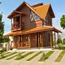 Resultado de imagem para casas de madeira Log Cabin Homes, Cottage Homes, Bamboo House, Construction Design, House Inside, Wooden House, Tropical Houses, House In The Woods, My Dream Home