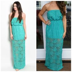 "FINAL SALEJade lace maxi dress FINAL SALE NO RETURNS/EXCHANGES ASK ANY QUESTIONS BEFORE PURCHASINGBUNDLE DISCOUNTS ALSO APPLYBeautiful jade dress. Made in USA . Strapless. All over lace with mini skirt underneath that's 15.5"" long. Cinched elastic waistband. Size large. 36"" bust. And it's  55"" long. New without tags. CupofTea Dresses Maxi"