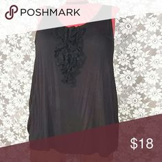 Lane Bryant Black Lace Ruffle Tank! Like new condition! Looks sharp under  any blazer or vest. Dress up your jeans or pair it with a pretty patterned skirt! Tops Tank Tops
