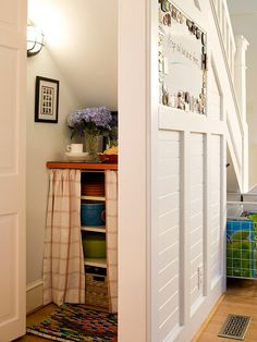 unused storage space under the stairs.  This site has several ideas for organizing closet spaces.