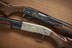 """10 Millionth Guns- Each of these shotguns represents the ten millionth made – the Remington 870 being part of the factory collection now on loan to NRA and the Mossberg 500 was recently donated to NRA. Both of these engraved & specially embellished shotguns are now represented at the NRA's National Sporting Arms Museum at Bass Pro Shops in Springfield, MO. If you've ever wanted to see a gun with """"Ten Millionth"""" spelled out in thick gold inlay, check out that Remington."""