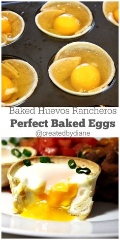 Baked eggs in tortillas make for an easy meal to get on the table fast. Egg Recipes For Breakfast, What's For Breakfast, Brunch Recipes, Breakfast Muffins, Yummy Recipes, Recipies, Tortillas, Huevos Rancheros, My Best Recipe