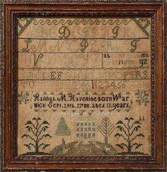 Love the blocking on this sampler.....Hannah Hazeltine, Warwick, Franklin County,Massachusetts, 1799