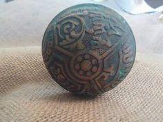 antique brass door knob set with backplate by hayseedstradingpost