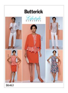 Butterick Lifestyle Wardrobe sewing pattern. B6463 Misses' Dolman-Sleeve Jacket, Attached-Sash Top and Dress, Pencil Skirt, and Pants