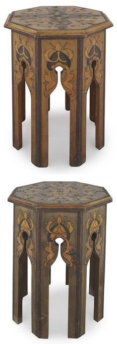 ENGLISH ART NOUVEAU, PAIR OF MOORISH OCCASIONAL TABLES, CIRCA 1920, each with octagonal tops raised above an arcaded frieze on eight supports, painted pokerwork [pyrography] foliate decoration with studded embellishments (2) 36cm diameter, 46cm high  |  Sold for £625 May 8, 2013