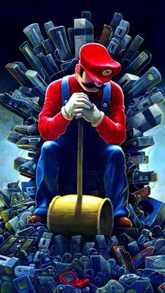 Alright to me.Mario is king for gamers. Mundo Super Mario, Super Mario Games, Super Mario Art, Super Mario World, Gaming Wallpapers, Cute Cartoon Wallpapers, Mario And Luigi, Mario Bros, Cosplay Anime