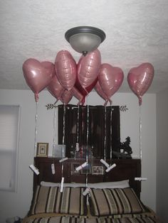 I found this on here so I am sharing mine on here!  I did this for my hubby for our 10th anniversary today. There are 9 pink and 1 red balloons. The pink ones have memories from our first years together and the red one reads 'these are just a few of the wonderful memories we have made together so far. I can't wait to see what memories we make over the next 10 years'  Just thought I would share. I can't wait for him to see it!!! Anniversary Dates, First Year Anniversary Gifts For Him, 14th Wedding Anniversary, Dating Anniversary Gifts, Anniversary Surprise, Husband Anniversary, Husband Birthday, Anniversary Photos, Top Gifts For Men