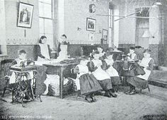 Young girl's at work. The Workhouse in St Pancras, London: Middlesex