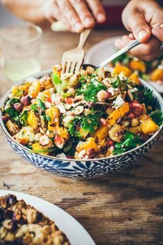 Autumn Salad With Pumpkin, Brussel Sprouts