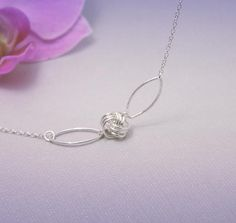 Love Knot Silver Necklace Love Knot Necklace Friendly Knot