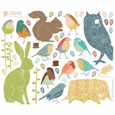 Forest Critters Earthy Fabric Wall Decals by Love Mae, Wall Stickers, Art for Boys