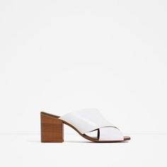 Image 1 of HIGH HEEL CROSSOVER LEATHER SANDALS from Zara