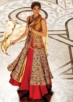 Long jacket lehenga in beige and gold enahnced in beads and sequin embroidery only on Kalki - Kalkifashion.com