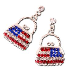 Patriotic Purse Earrings - Red, white and blue rhinestones denote the American flag look of these post earrings in the shape of a purse. Pierced only, silverplate. Price: $15.50 #american flag earrings #patriotic purse earrings http://www.starsandstripesproducts.com/patriotic-purse-earrings/