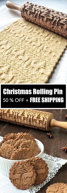 Christmas Rolling Pin - ★★★★★ Finally, an easy way to prepare the most beautiful and original Christmas cookies in just minutes! This unique, Christmas Rolling Pin would make a perfect Christmas gift for your wife, mother, friends (women or men) Christmas Gift For You, Perfect Christmas Gifts, Christmas Goodies, Christmas Desserts, Christmas Treats, Holiday Treats, All Things Christmas, Holiday Fun, Holiday Recipes