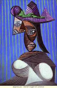Pablo Picasso. Woman in a Stripped Hat. Olga's Gallery. BTW, be sure to also visit: http://universalthroughput.imobileappsys.com/