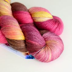 Hand Dyed Yarn by Toil and Trouble - Dionysus in Wine, Magenta and Honey