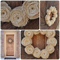 burlap flower wreath DIY tutorial with grapevine