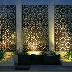 Enjoy your relaxing moment in your backyard, with these remarkable garden screening ideas. Garden screening would make your backyard to be comfortable because you'll get more privacy. Outdoor Screens, Outdoor Walls, Outdoor Rooms, Privacy Screens, Outdoor Privacy, Metal Garden Screens, Outdoor Decorative Screens, Outdoor Life, Decorative Metal