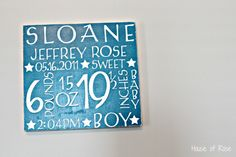 Cute plaque with baby's birth details to add to the nursery after baby is born.