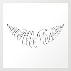 Calligraphy We're All Mad Here Alice in Wonderland Art Print by Digital Bunny's Designs - $16.64