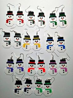Snowmen Earrings, Snowman Hama Beads Earrings, Snowman Perler Beads, Christmas E. Hama Mini, Mini Hama Beads, Diy Perler Beads, Perler Bead Art, Fuse Beads, Perler Earrings, Crochet Earrings, Perler Bead Designs, Hama Beads Design