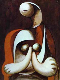 'nackt in einem sessel', öl von Pablo Picasso (1881-1973, Spain)
