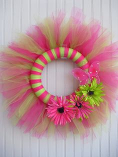 Tulle Wreath with Butterfly and Flowers by ATPitman on Etsy,  Could do this with Red white and blue tulle for 4th of July Wreath!!