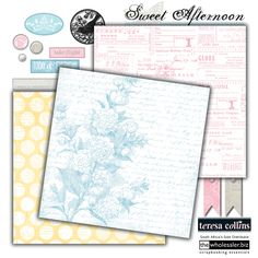 Teresa Collins - Sweet Afternoon - This collection has so many possibilites!  It's a gorgeous, pastel collection with all the elements that simply say elegant, soft, subtle and perfect.