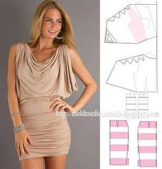 Dress pattern (just the picture)--cowl neck, interesting sleeves, interesting skirt Diy Clothing, Sewing Clothes, Clothing Patterns, Dress Patterns, Sewing Patterns, Fashion Sewing, All Fashion, Moda Professor, Drape Dress Pattern