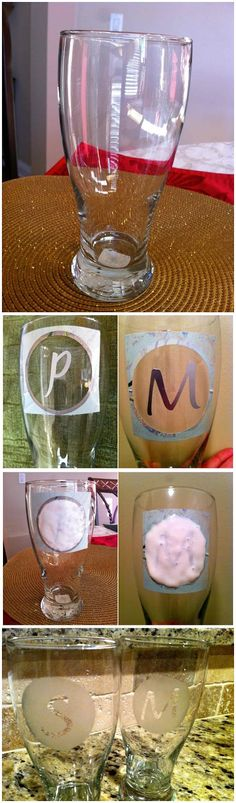 DIY: Etched Monogram Glasses. For bridesmaids gifts except with wine glasses.