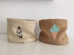 Helados y plumas en las cestas personalizadas #deco #handmade #pintadoamano