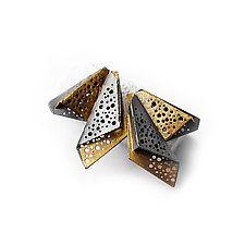"""Wings Earrings by Sophia Hu (Gold & Silver Earrings) (2.5"""" x 1.13"""")"""