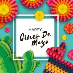 Colorful Paper Fan, Funny Pinata and Cactus i ,Happy Cinco de Mayo Greeting card. Colorful Paper Fan, Funny Pinata and Cactus i , Get Well Wishes, Paper Fans, Cut And Style, Cool Art, Awesome Art, Paper Cutting, Maya, Cactus, Carnival